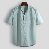 Mens Casual Stand Collar Practical Pocket Short Sleeve Summer Shirts