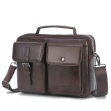 Men Genuine Leather Casual Large Capacity Handbag Crossbody Bag