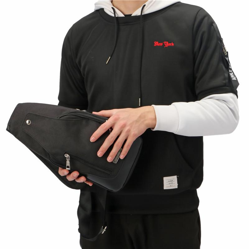 Men USB Anti-theft Chest Bag Crossbody Messenger Shoulder Backpack Sling Pack Sports Travel