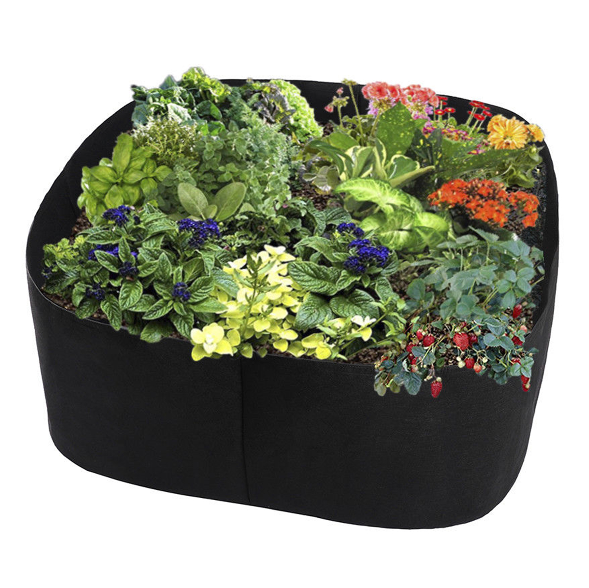 Flower Bed Maintenance Cost: Non Woven Fabric Raised Garden Bed Durable Grow Bags Herb