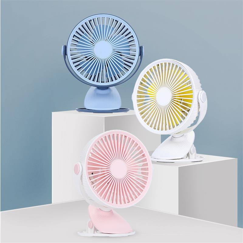 Well Star WT-F15 Portable Clip Fan 360 Degrees Rotation USB Mini Stripe Fan Rechargeable Air Cooling Fan Clip Desktop Fan Dual Use Portable Home Student Office Fan