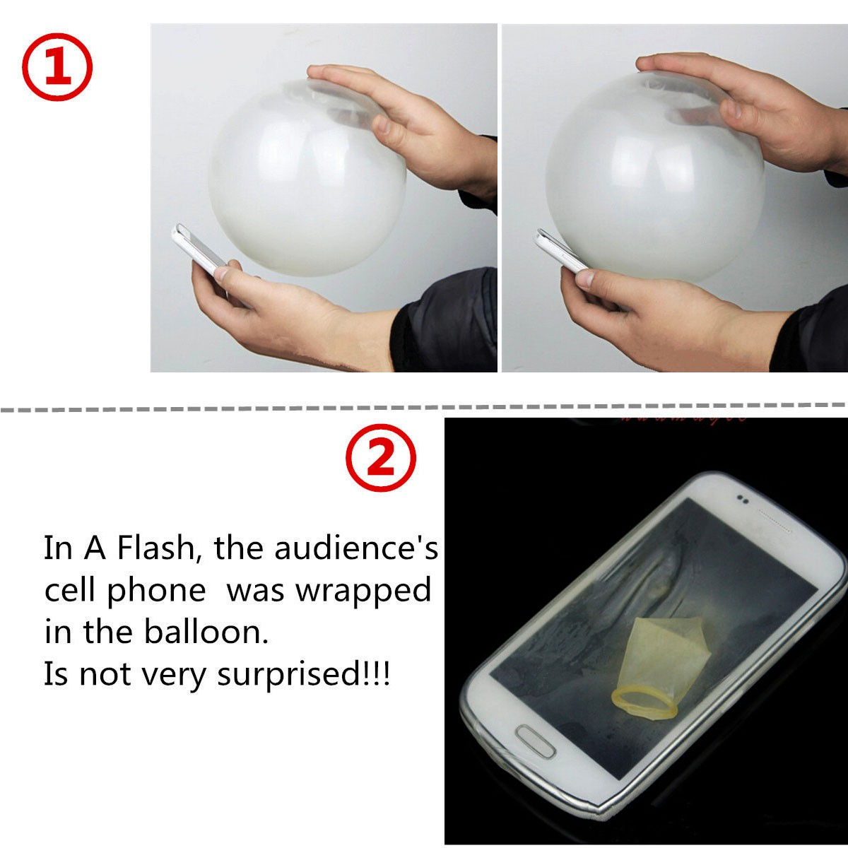 5Pcs Close Up Magic Street Trick Mobile Into Balloon Penetration In A Flash Party Fool's Day Props Toys
