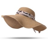 Women Foldable Ribbon Sunscreen Bucket Straw Hat Outdoor Casual Travel Beach Floppy Hat