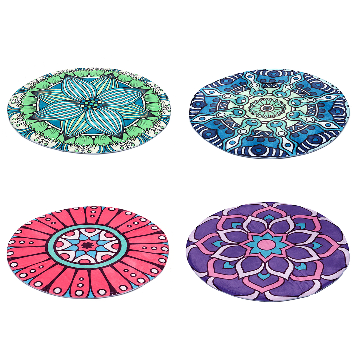 Round Style Decoration Fluffy Rugs Shaggy Carpet Floor Mat Anti-Skid at Home Bedroom Yoga Meditaion Mat