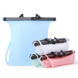 Portable Silicone Food Storage Bag Sealing Bag Refrigerator Meat Fruit Food Kitchen Storage Freezer Bag Fresh Bag