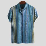 Mens Summer Colorful Striped Practical Pocket Short Sleeve Loose Casual Shirts