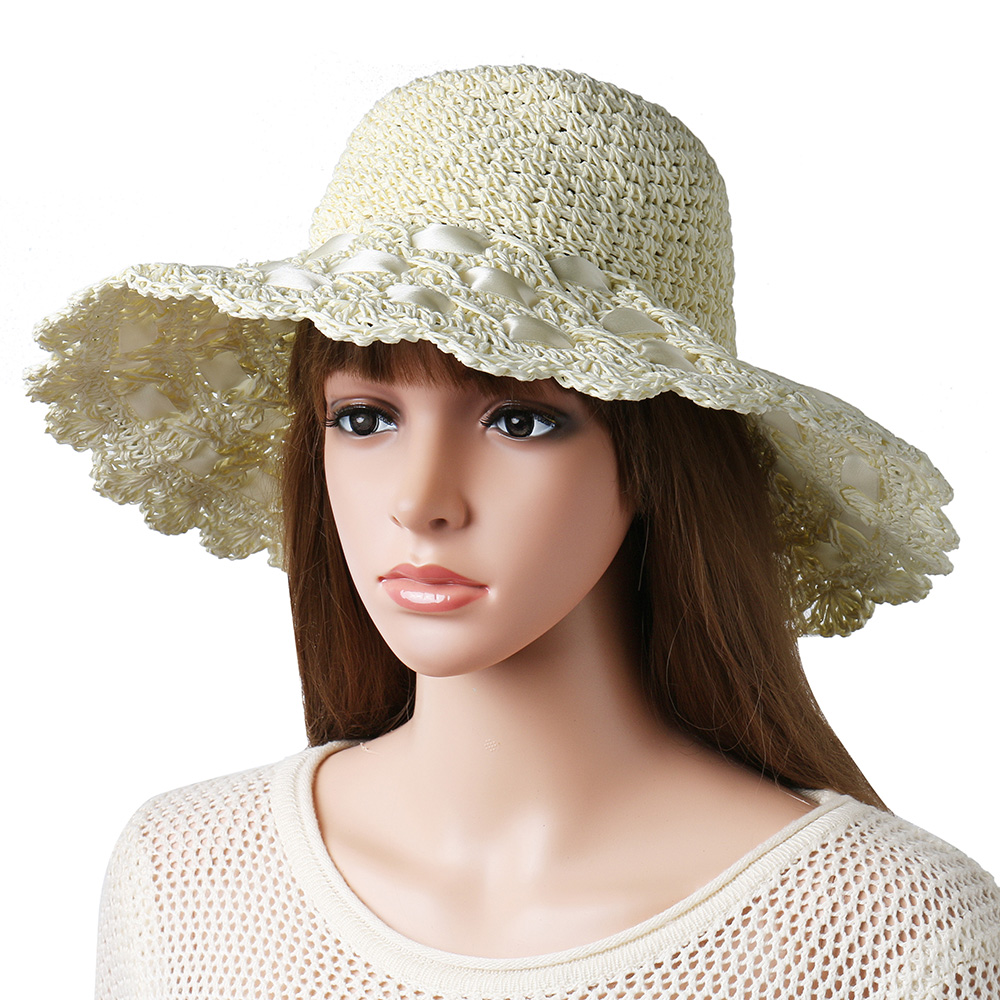 Women Breathable Foldable Bow Sunscreen Bucket Straw Hat Outdoor Casual Travel Beach Sea Floppy Hat