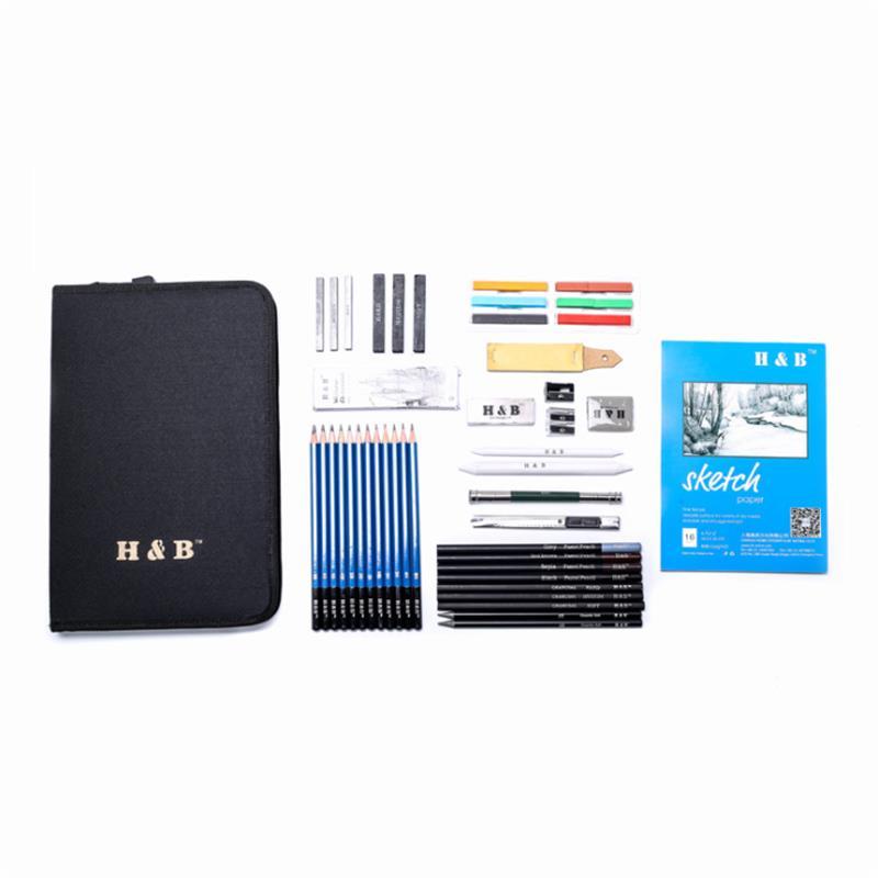 H&B HB-TZ65 48Pcs Sketching Pencils Set Art Supplies Sketch Tool Set Painting Pencil Professional Drawing Sketching Art Kit with Carrying Bag
