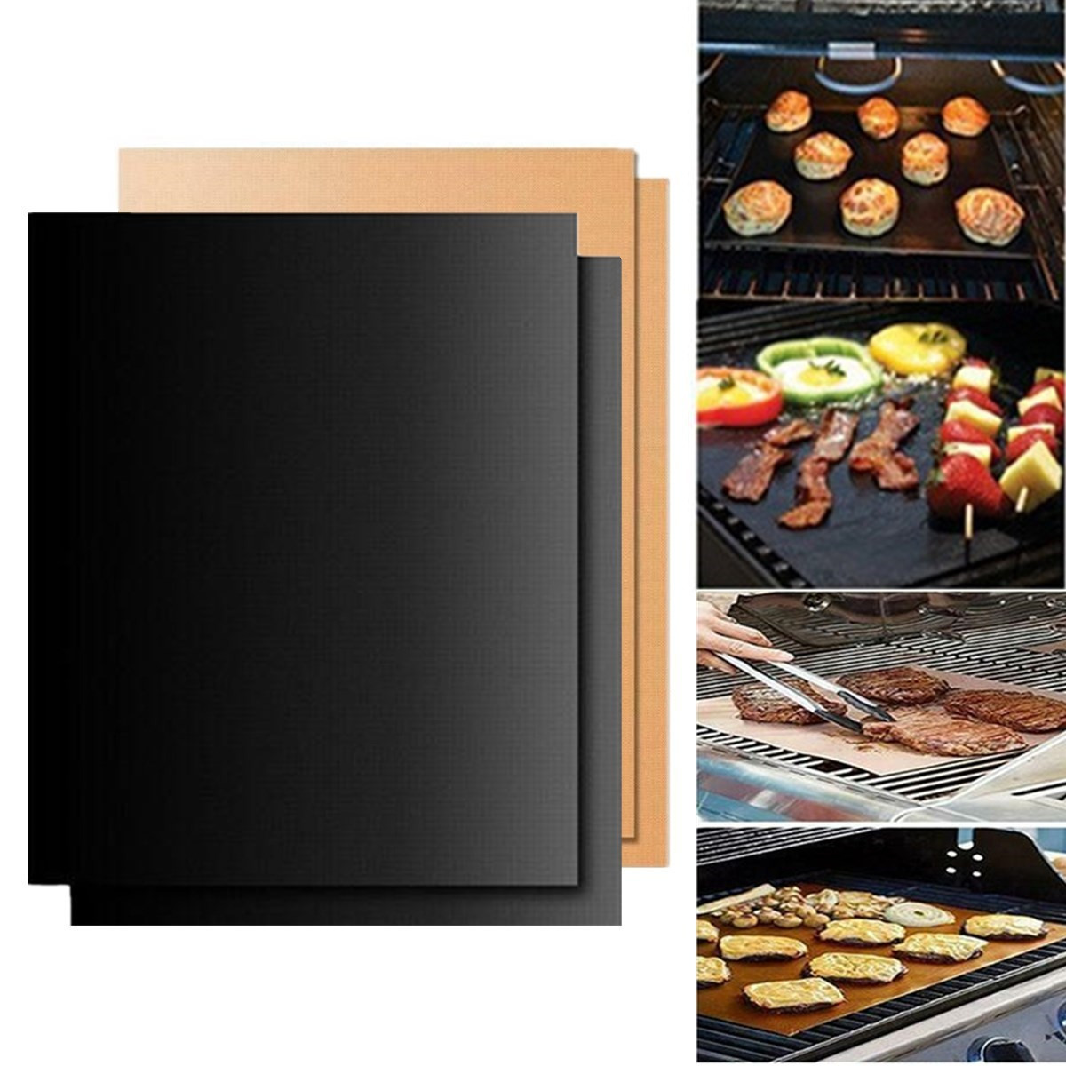 2PCS 33x40cm Outdoor BBQ Barbecue Reusable Resistant Non-stick Baking Grill Mats