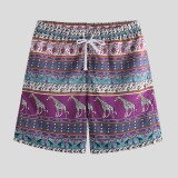 Men Ethnic Pattern Giraffe Print Drawstring Beach Leisure Board Shorts