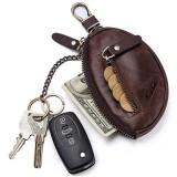 GZCZ Genuine Leather Car Key Holder Key Bag Keychain Wallet For Men Women