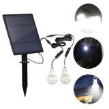 Solar Panel 2pcs LED Bulb Kit Waterproof  Light Sensor Outdoor Camping Tent Fishing Emergency Lamp