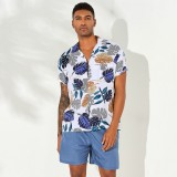 ChArmkpR Men Tropical Plants Printed Hawaiian Beach Shirts