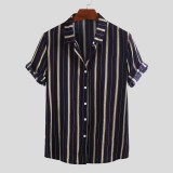 Mens Vertical Striped Summer Short Sleeve Casual Fashion Shirts
