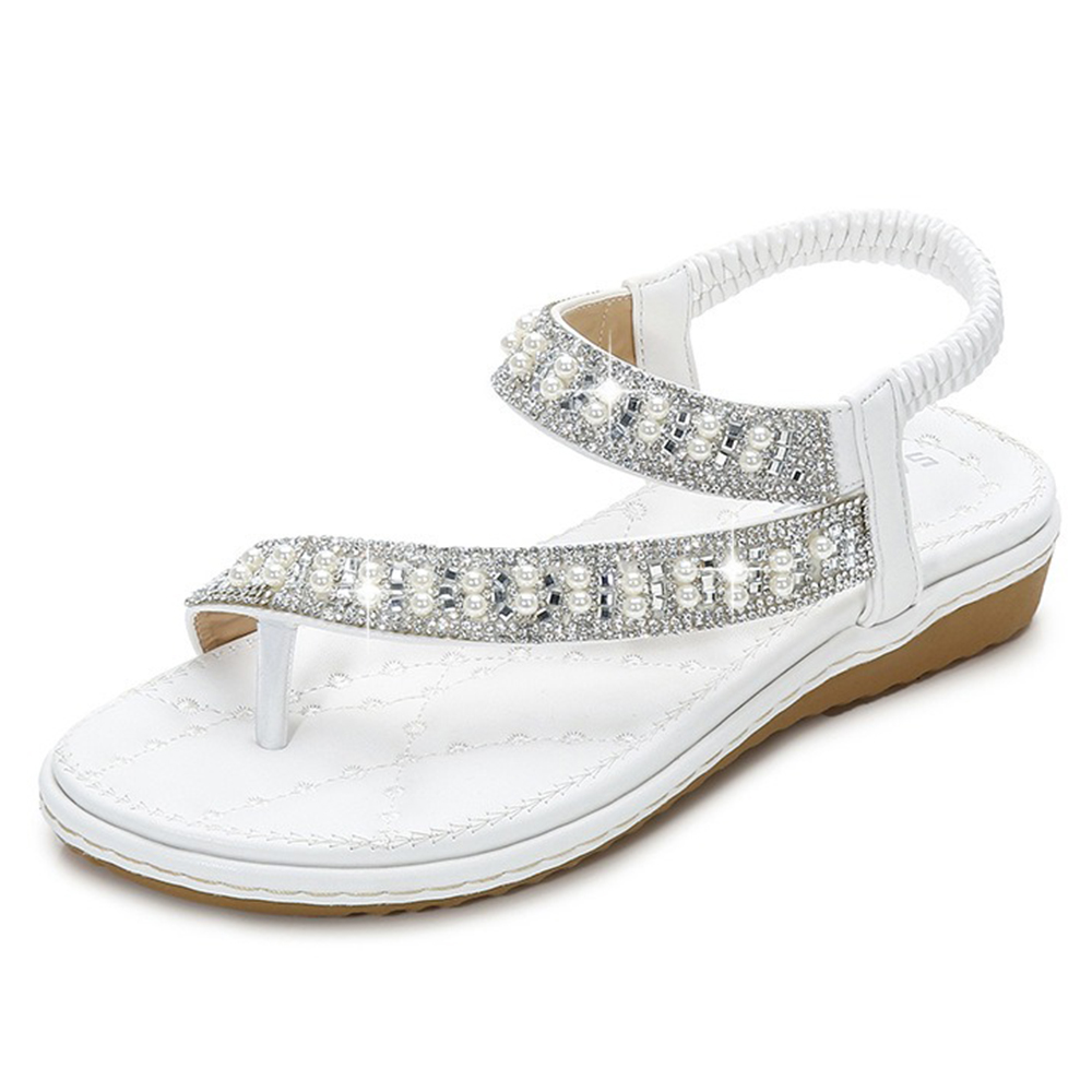 Bohemian Rhinestone Clip Toe Flip Flops Soft Bottom Flat Sandals