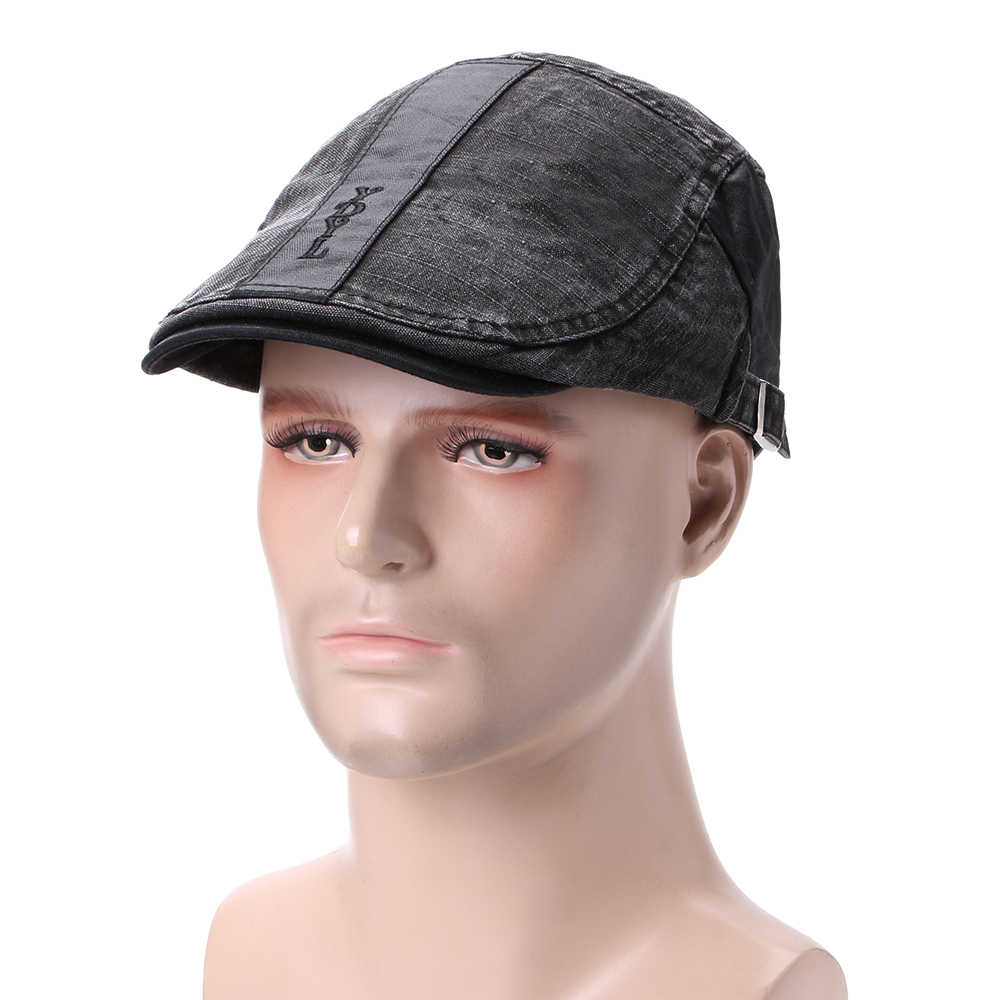 Men Cotton Letter Embroidered Adjustable Painter Beret Hat Newsboy Cabbie Flat Caps