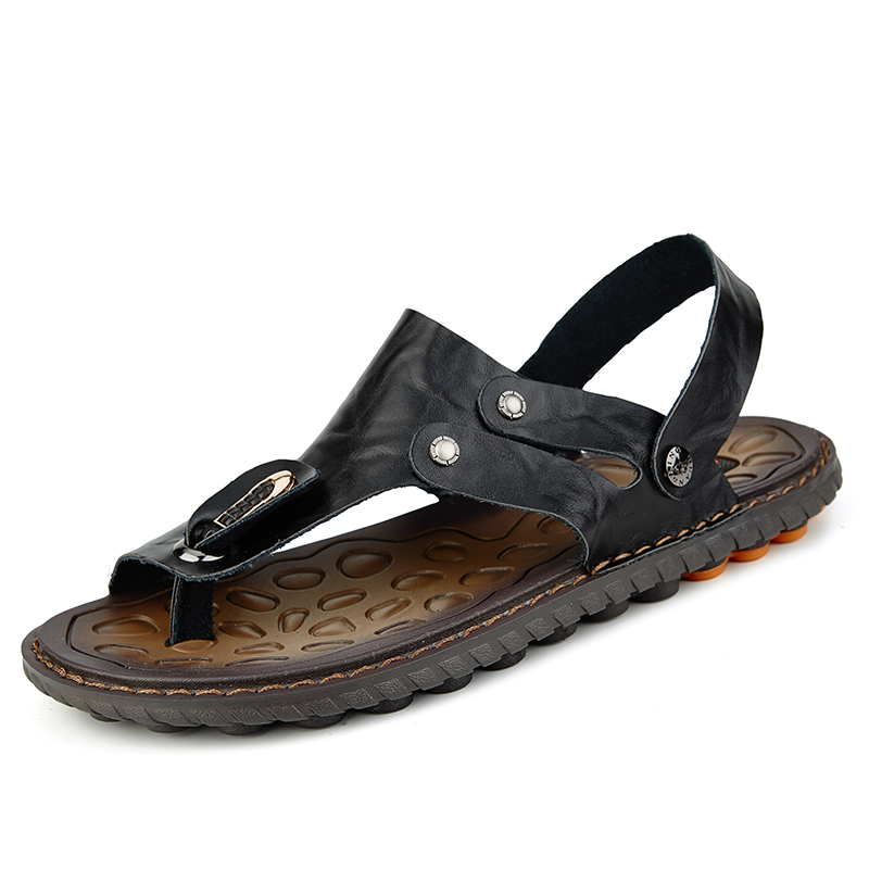 Men Clip Toe Genuine Leather Casual Beach Sandals