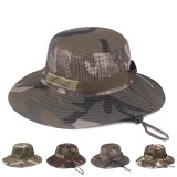 Unisex Camouflage Foldable Bucket Hat Outdoor Mountaineering Hat Big Visor Hat Mesh Breathing Basin Cap