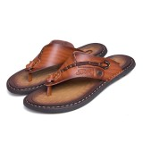 Men Soft Casual Genuine Leather Beach Clip Toe Slippers