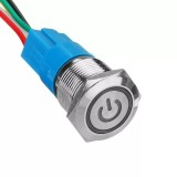 19mm 5Pin Metal Self-locking Switch 3V Red LED ON-OFF Push Button Switch With Wire Waterproof