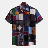 Mens Funny Patchwork Printed Summer Short Sleeve Loose Casual Fashion Shirts