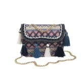 Women Ring Handle Straw Bag Pouch Rattan Messenger Handbag Beach Tote Outdoor Travel