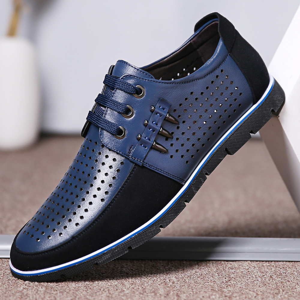 Men Genuine Leather Hollow Out Soft Soles Oxfords