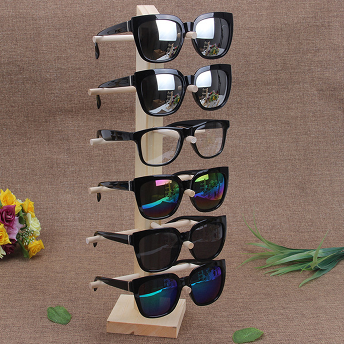 Natural Wood Wooden Sunglasses Eyeglasseses Display Rack Stand Holder Organizer 3/4/5/6 Layers