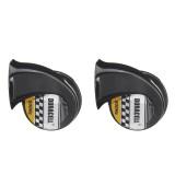 12V 110db Black Twin Snail Horn High Low Tone Car Horn Loud
