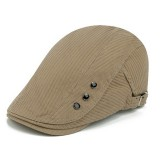 Men Cotton Button Double-Sided Adjustable Painter Beret Hat Newsboy Flat Caps
