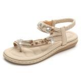 Bohemian Weave Rhinestone Elastic Band Soft Casual Sandals