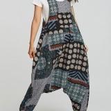 Women Ethnic Cotton Print Overall Side Pockets Harem Romper Jumpsuit