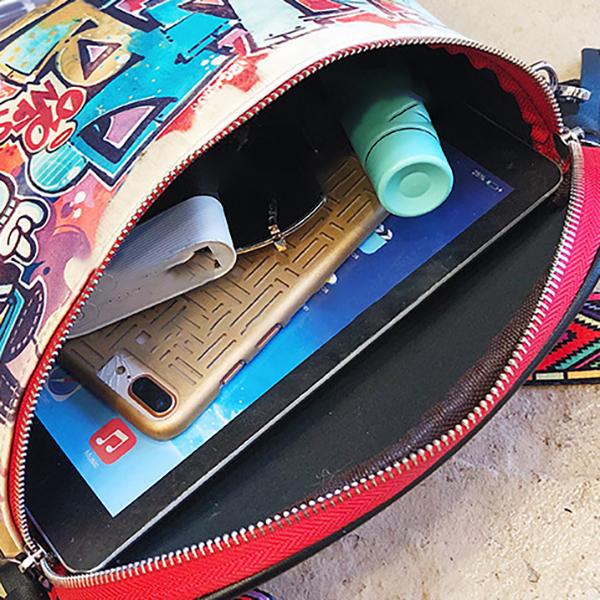 Women Fashion Multi-carry Bag Hip-Hop Graffiti Colorful Crossbody Bag