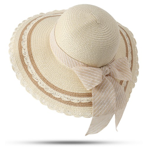 Women Foldable Bow Sunscreen Bucket Straw Hat Outdoor Casual Travel With String Beach Sea Floppy Hat