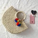 Women Casual Straw Handbag Woven Plush Ball Beach Bag