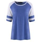 SUNNYME Women's Baseball T-Shirt Long Sleeve Shoulder Shirt Round Neck Striped Waist Casual Shirts