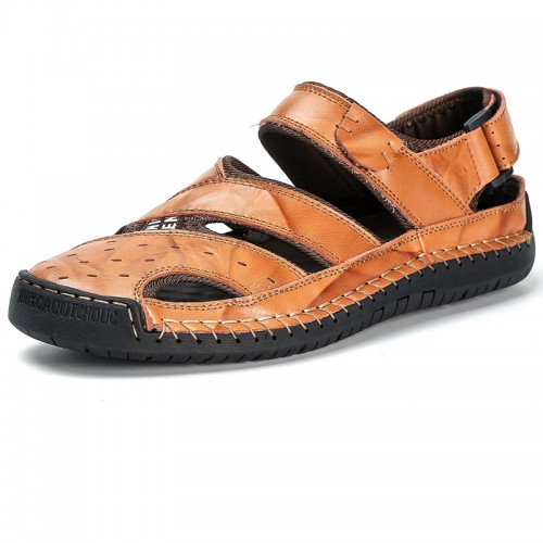 Men Closed Toe Genuine Leather Soft Breathable Sandals
