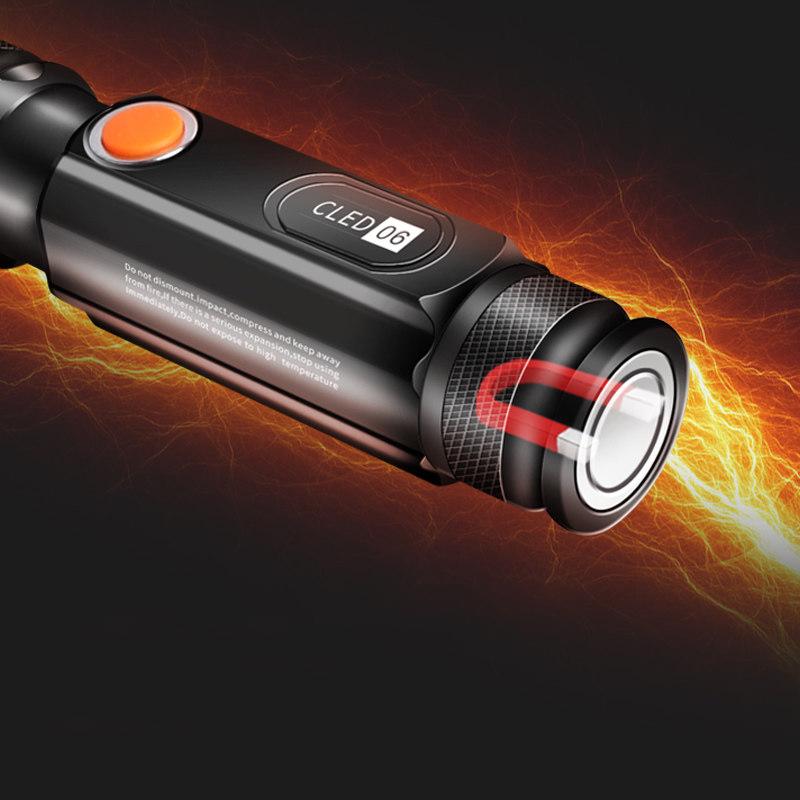 WARSUN COB06 10W Mini Torch Light USB Rechargeable Flashlight 18650 Flashlight Tail Magnet 3 Modes Flashlight Camping Hunting Emergency Lamp