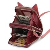 Brenice Women Cute Cat Ears Card-slots Phone Bag Crossbody Bag