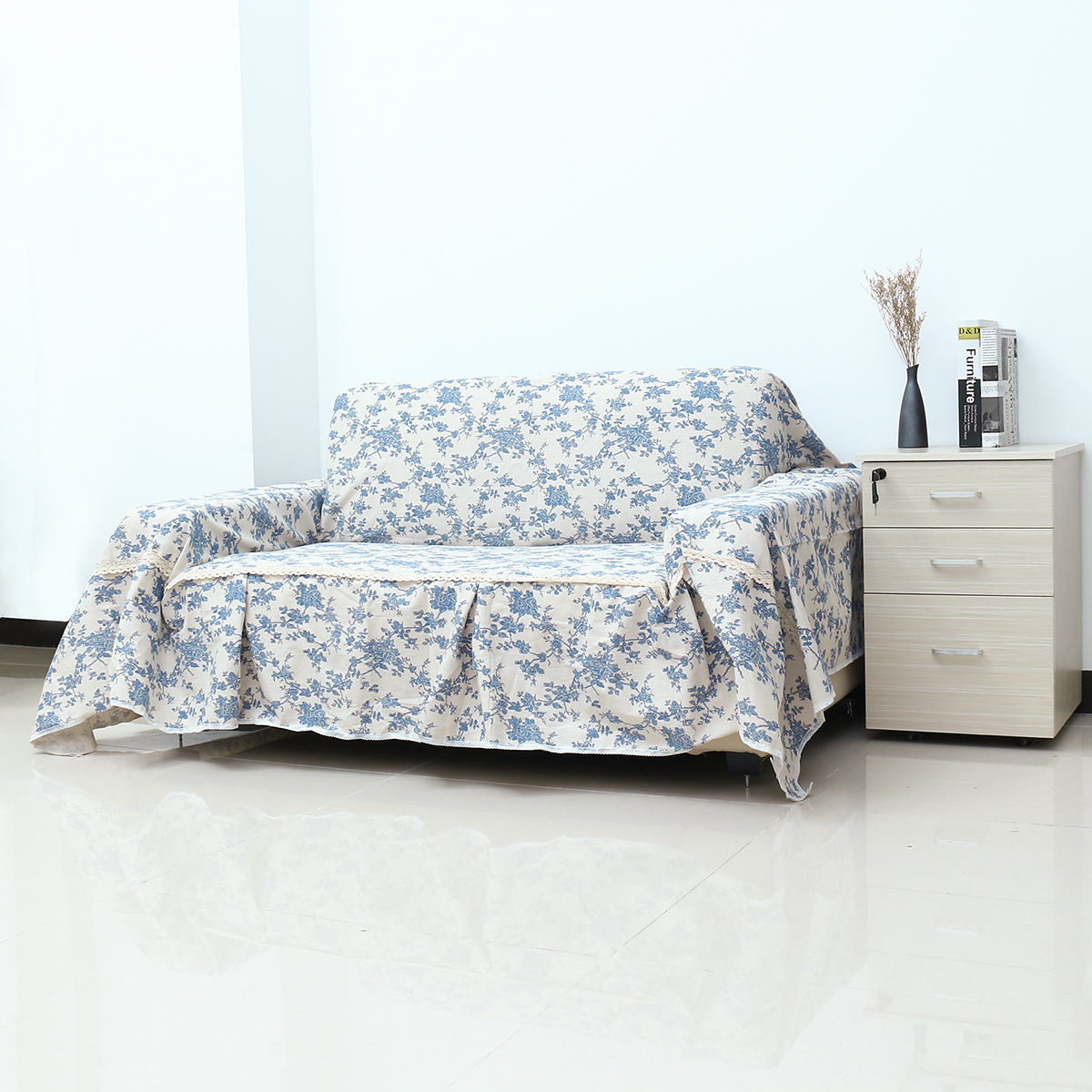 1 2 3 Seater Sofa Chair Covers Cotton Linen Furniture Protector Couch Towel Skirt Thick Fabric Universal Sofa Towel Cover