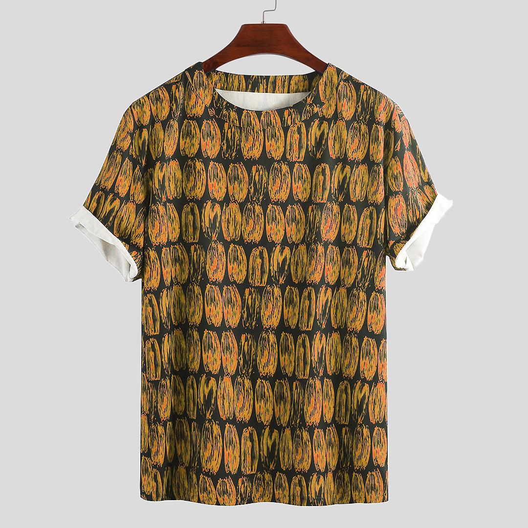 Mens Summer Graffiti Printed Loose Fit Short Sleeve Casual T-Shirts