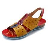 SOCOFY Splicing Hollow Casual Hook Loop Genuine Leather Sandals