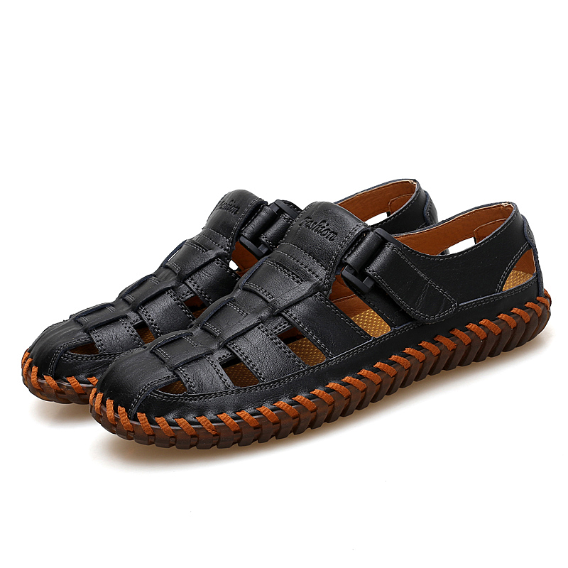 Men Genuine Leather Soft Casual Breathable Hollow Out Sandals