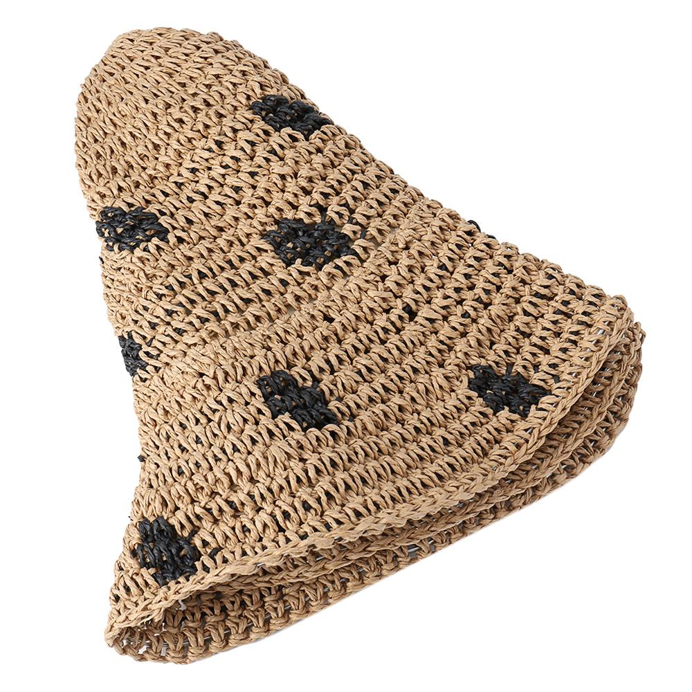 Women Foldable Sunscreen Bucket Straw Hat Outdoor Casual Travel Beach Sea Floppy Hat