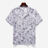 Mens Fashion Stand Collar Floral Pocket Design Short Sleeve Casual Shirts