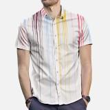 Men Colorful Ink Printed Short Sleeve Tie Dye Shirts