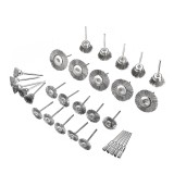 30pcs Stainless Steel Wire Brush Set Cleaner Polishing Brushes Cup Wheel For Dremel Rotary Tool