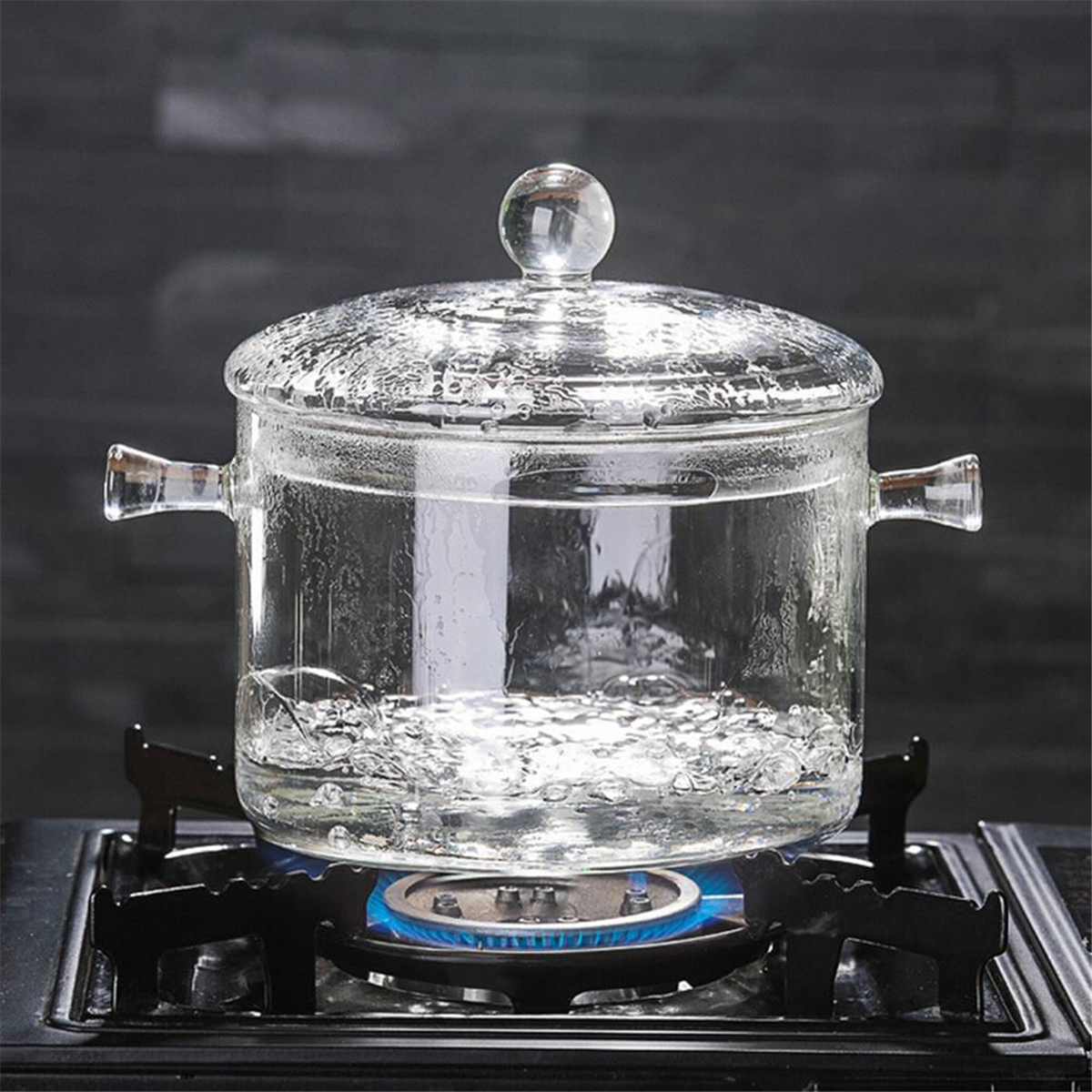1.5/1.7L Resistant Clear Glass Cooker Pot Soup Heat Bowl Food Milk Cooker Tool Heating Kitchen Pot