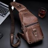 Bullcaptain Genuine Leather Casual Chest Bag Shoulder Crossbody Bag