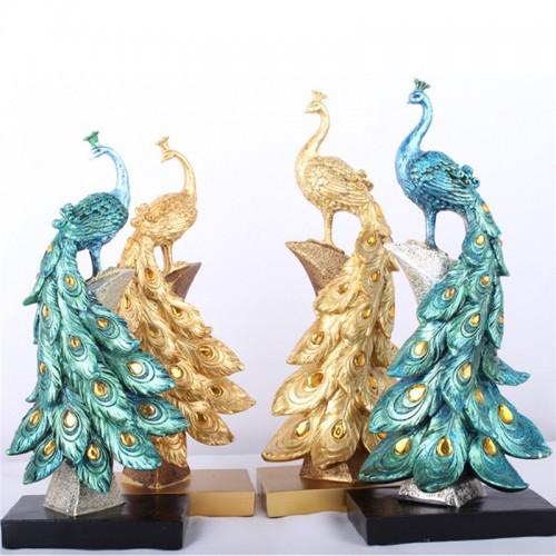 Peacock Resin Desktop Ornament Animal Figurine Statue Home Decorations Crafts